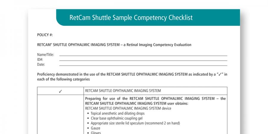 RetCam Shuttle Sample Competency Checklist